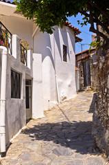 Narrow street in greek mountain village, island of Crete
