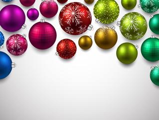 Gift card with colorful christmas balls.