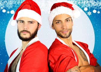 two sexy santa claus