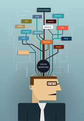 Business man planning digital marketing concept