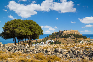 Town of Lindos and Acropolis on the island of Rhodes