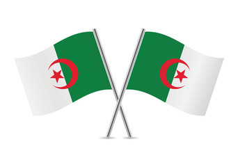Algerian flags. Vector illustration.