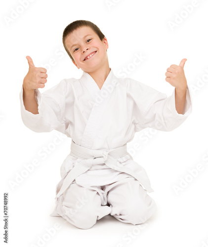 Foto op Canvas Vechtsport boy in clothing for martial arts