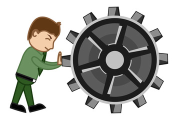 Dragging the Gear - Cartoon Vector