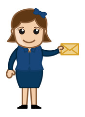 Girl Holding Envelope - Cartoon Vector