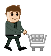 Shopping Cart - Cartoon Vector