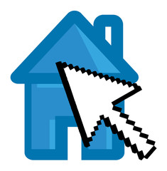 Pixel Arrow Pointed to Home Icon - Cartoon Vector