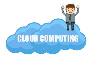 Cloud Computing - Cartoon Vector