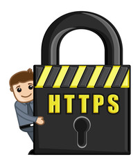 HTTPS Icon - Cartoon Vector