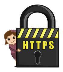 HTTPS - Cartoon Web Concept