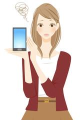 スマートフォンを持つ困る女性