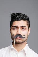 young man with mustache