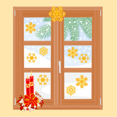 Winter window with Christmas decorations vector