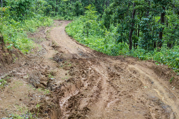 the rural road in maehongson country ,thailand