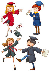 A simple coloured sketch of the graduates