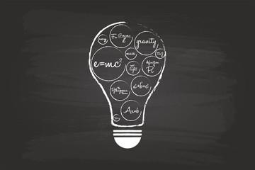 Idea Light Bulb Concept With Mathematical Equation On Blackboard
