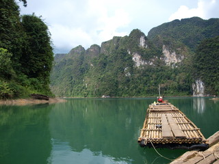 The raft on Chiew Lan lake, Thailand