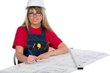 Happy female engineer worker correcting a blueprint