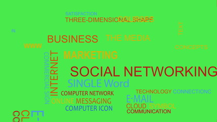 Social network word tag cloud animation chroma key
