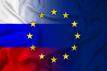 Waving Russia and European Union Flag