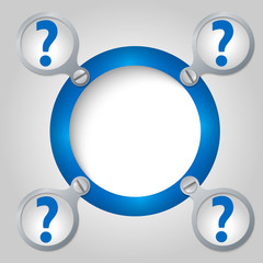 blue circular frame for text and question mark
