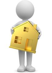Männchen trägt goldenes Haus