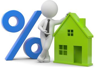 Männchen mit Haus und Prozentsymbol