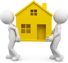 zwei Männchen tragen gelbes Haus