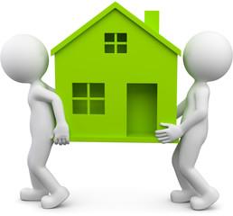 zwei Männchen tragen grünes Haus