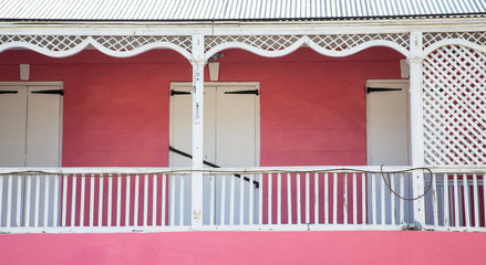Pink Building with White Trim