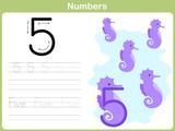 Fototapety Number Tracing Worksheet: Writing 0-9