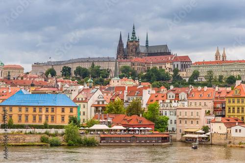 Aluminium Praag Old town of Prague with castle at Vltava river, Czech Republic