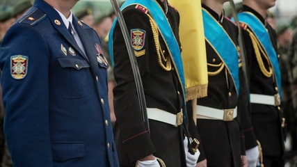 Military parade Ukraine in the rain
