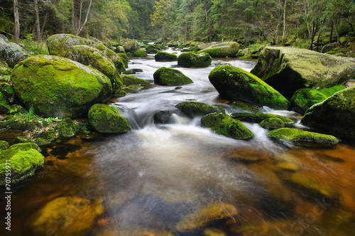 Foto Spatwand Rivier Mountain river waterfall