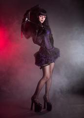 Gothic Lolita girl with lace umbrella