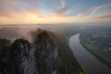 Saxon Switzerland view from Bastei to Raten and Elbe river