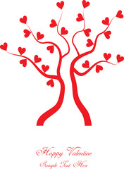 color vector valentine tree with hearts