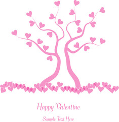pink valentine tree with hearts