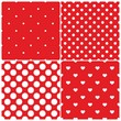 Tile vector pattern set white polka dots hearts red background
