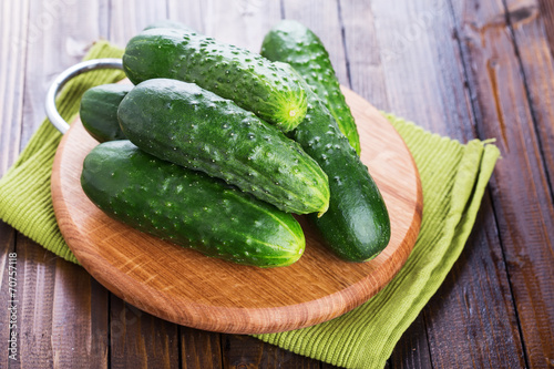 canvas print picture Fresh organic cucumbers
