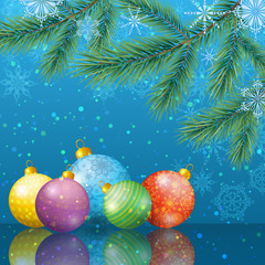 Christmas background with branches and balls