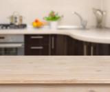 Fototapety Breakfast table on kitchen interior background