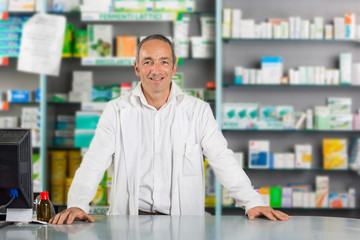 Handsome Pharmacist Portrait in a Drugstore