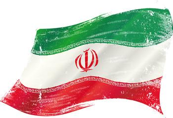 waving iranian grunge flag