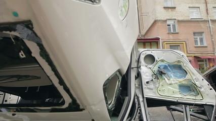 Overturned police car