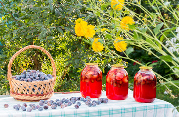 compote home canning and basket with plums