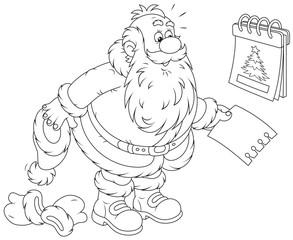 Santa Claus and tear-off calendar