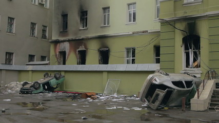 Burned and destroyed police station in Ternopil