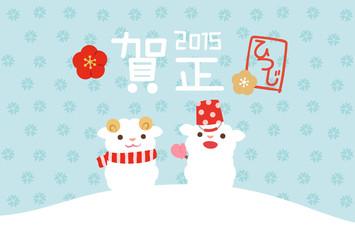 羊の雪だるまの年賀状テンプレート