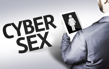 Business man with the text Cyber Sex
